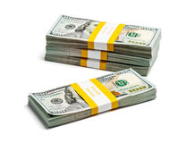 Bundles of 100 US dollars 2013 edition banknotes Royalty Free Stock Photos