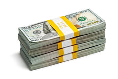 Bundles of 100 US dollars 2013 edition banknotes Royalty Free Stock Images