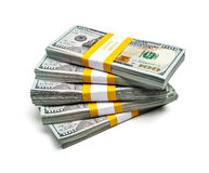 Bundles of 100 US dollars 2013 edition banknotes Royalty Free Stock Photos