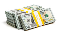 Bundles of 100 US dollars 2013 edition bills Stock Photo