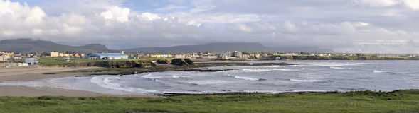 Bundoran panorama. Bundoran, County Donegal, Ireland. While very few people automatically think of Ireland when they think of surfing, the waves that break at Stock Images