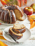 Bundt Banana Cake with pecans Stock Photo