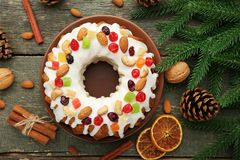 Bundt cake with fir-tree branches stock photo