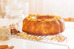 Bundt cake with orange peel. Bundt cake with citrus peel Stock Image