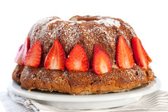 Bundt Cake  With Strawberries Stock Images