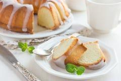 Bundt Cake  with Sugar Glaze. On white background Stock Image