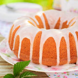 Bundt Cake Topped with Sugar Glaze Stock Photo