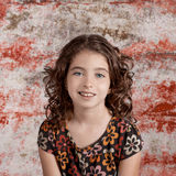 Bunette kid girl portrait smiling retro vintage Royalty Free Stock Photography