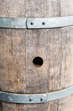 Bung hole in old wood barrel between bands Royalty Free Stock Photos