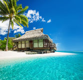 Bungallow tropicale sulla spiaggia stupefacente con la palma Fotografie Stock Libere da Diritti