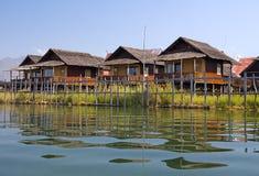 bungalowów inle jeziora stilt Obrazy Stock