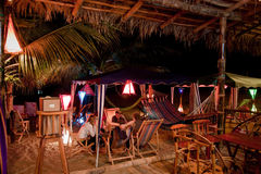 Bungalow beach bar in Puerto Lopez, Manabi Stock Photo