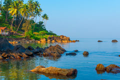 Bungalow on the beautiful rocky coast Stock Photography