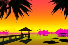 Bungalow with a bridge on the background of the sunset. 3D render vector illustration