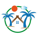 Bungalow colored house icons Royalty Free Stock Images