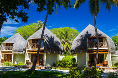 Bungalow on the coral beach. Concept of romantic holidays Royalty Free Stock Image