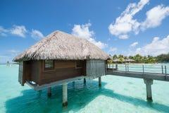 Bungalow del overwater di Bora Bora Tahiti Fotografia Stock