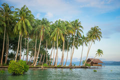 Bungalow on a desert tropical island Stock Photos