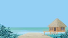 Bungalow e oceano Fotos de Stock Royalty Free