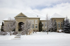 Bungalow home in snow Royalty Free Stock Photography