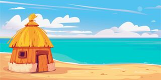Free Bungalow House On The Sandy Beach. Maldives Clipart. Beautiful Clouds. Background For Cruise, Travel, Summer Marine Stock Image - 218794861