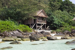 Bungalow house on the rock in cambodia, koh rong island Royalty Free Stock Photos