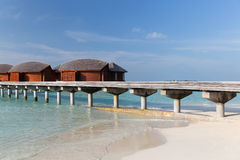 Bungalow huts in sea water on exotic resort beach Stock Photography
