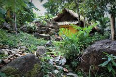 Bungalow i zhiplingen på ön av Koh Chang Arkivfoto