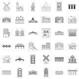 Bungalow icons set, outline style Stock Images