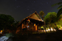 Bungalow made of bamboo with thatched roof Stock Images