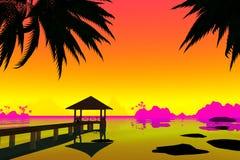 Bungalow med en bro på bakgrunden av solnedgången 3d framför vektor illustrationer
