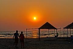 Bungalow na praia Foto de Stock