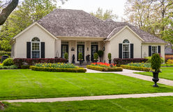 Bungalow with a nice landscaping Stock Photography