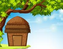 Bungalow onder de boom stock illustratie
