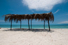 Bungalow op een strand Royalty-vrije Stock Foto