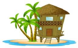 Bungalow op het eiland royalty-vrije illustratie