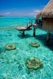Bungalow overwater resort stock photos