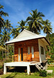 Bungalow and palm tree Royalty Free Stock Image