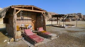 Bungalow at Red Sea, Egipt. Bamboo hut at coral beach,Red Sea, Sinai Royalty Free Stock Photos