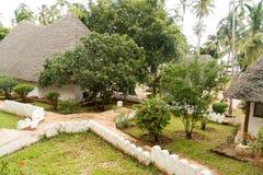 Bungalow resort in Zanzibar. Holiday resort in Africa on an exotic island Stock Photo