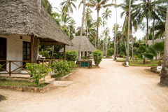 Bungalow resort in Zanzibar. Holiday resort in Africa on an exotic island Stock Images