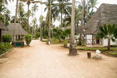 Bungalow resort in Zanzibar. Holiday resort in Africa on an exotic island Royalty Free Stock Images