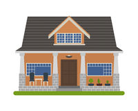 Bungalow style house. Modern Bungalow style house. Vector illustration of a tourist house for rent, sale, booking and living, isolated on white background Royalty Free Stock Photography