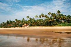 Bungalow sulla spiaggia fra le palme in Goa tropicale caldo Immagine Stock