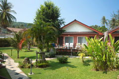 Bungalow  in tropical garden in Thailand Stock Photography