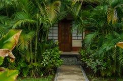 Bungalow und viele Palmen Stockbilder