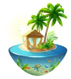 Bungalow under palm tree on tropical island. Isolated on white vector 3d cartoon illustration Stock Image
