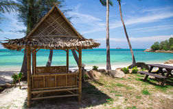 Bungalow on the white sand beach Royalty Free Stock Images
