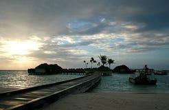 bungalower maldives Arkivfoton