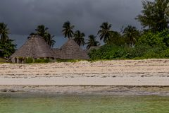 Bungalows on the afrikan beach royalty free stock photo